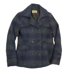 Maralyn And Me Womens Small Peacoat Plaid Blue Gray Double Breasted